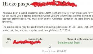 Selamat Anda dapat Coupon Code Domain Gratis
