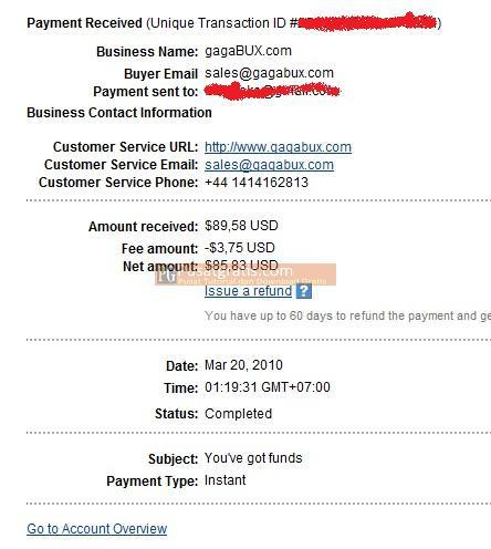 Bukti Pembayaran Gagabux Bulan Maret 2010