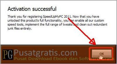 Aktivasi SpeedUpMyPC 2011 telah berhasil