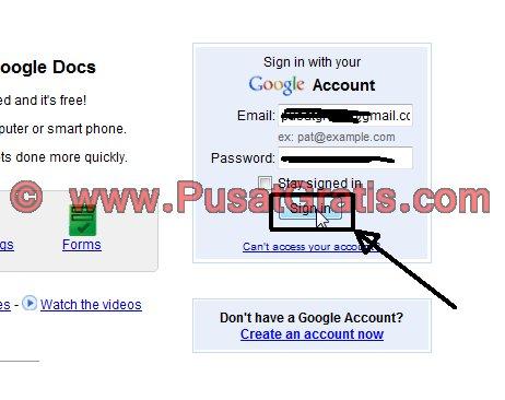 Login ke akun GoogleDocs dengan akun Gmail Anda
