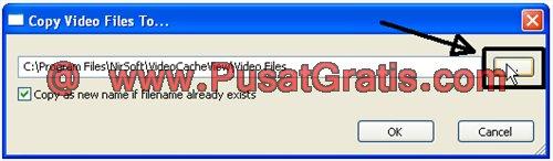 Browse untuk memilih lokasi penyimpanan video