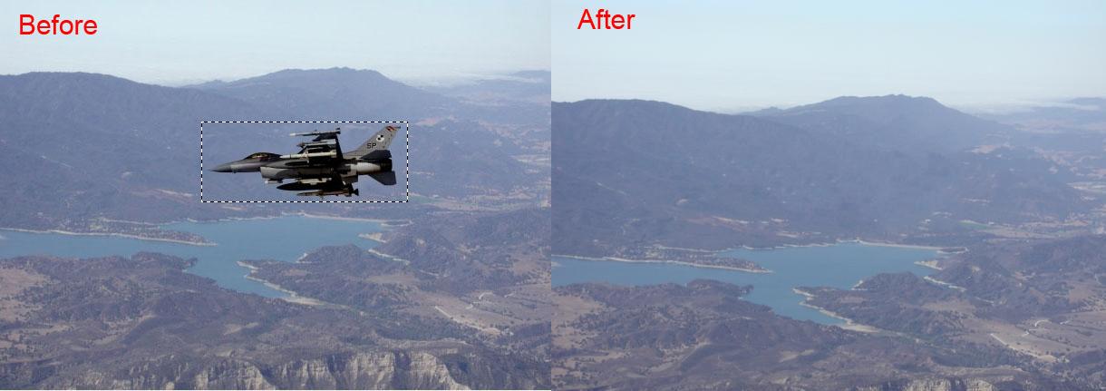 Hasil Inpaint setelah menghapus Obyek Pesawat