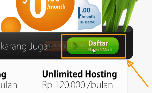 Klik Daftar untuk Memperoleh Hosting Gratis