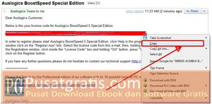 Copy Lisensi BoostSpeed di Email Anda