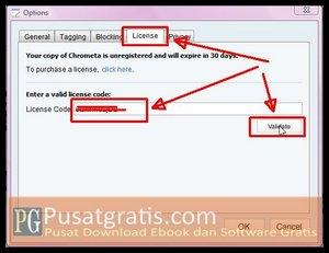 Masukkan lisensi Full Version Chrometa 2 dan klik Validate