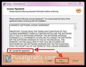 Pilih I Accept dan Klik Next Untuk Menginstal Chrometa 2 Full Version