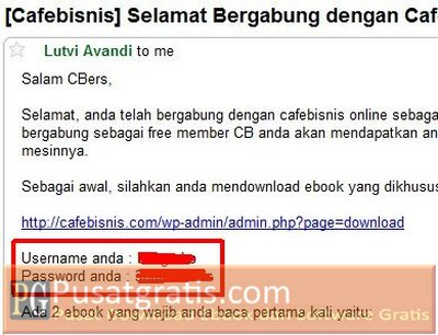 Username dan Password ada di Email Anda