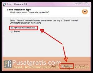 Pilih Personal dan Klik Next Untuk Menginstal Chrometa 2 Full Version