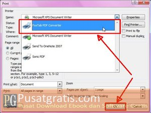 Ganti Default Printer dengan Foxtab PDF Converter Virtual Printer