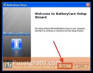 Klik Next beberapa kali untuk Menginstall BatteryCare