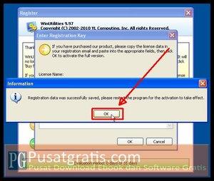 Klik OK untuk mengaktifkan lisensi WinUtilities Professional Edition 9.97