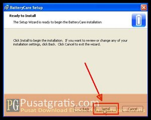 Klik Install untuk Menginstall BatteryCare