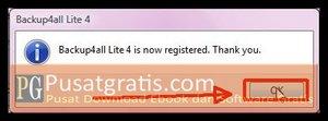 Backup4all Lite sudah Sukses teraktivasi