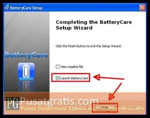 Klik Finish untuk Menginstall BatteryCare