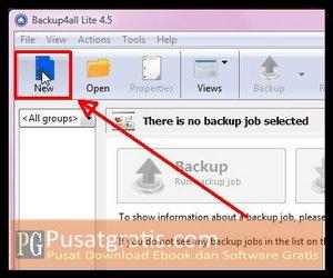 Klik New untuk Membackup data dengan Backup4all Lite