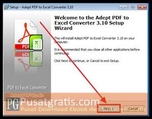 Klik Next untuk menginstall PDF to Excel Converter