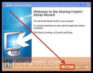 Klik Next untuk Menginstall Startup Faster