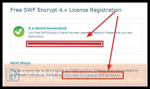 Simpan Serial Number dan Klik link Download SWF Encrypt