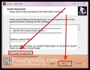 Pilih I Accept..dan klik Next untuk Menginstall AutoClipX