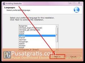 Pilih bahasa dan klik next untuk menginstall balabolka text to speech