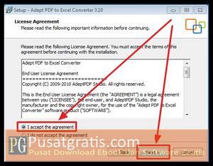 Pilih I Accept kemudian Klik Next beberapa kali untuk menginstall PDF to Excel Converter