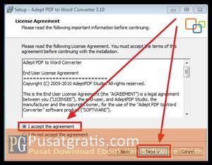 Pilih I Accept kemudian klik Next beberapa kali untuk menginstall Adept PDF to Word Converter