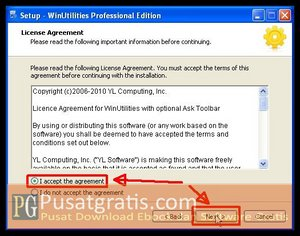 Pilih I Accept dan Klik Next untuk menginstall WinUtilities Professional Edition 9.97