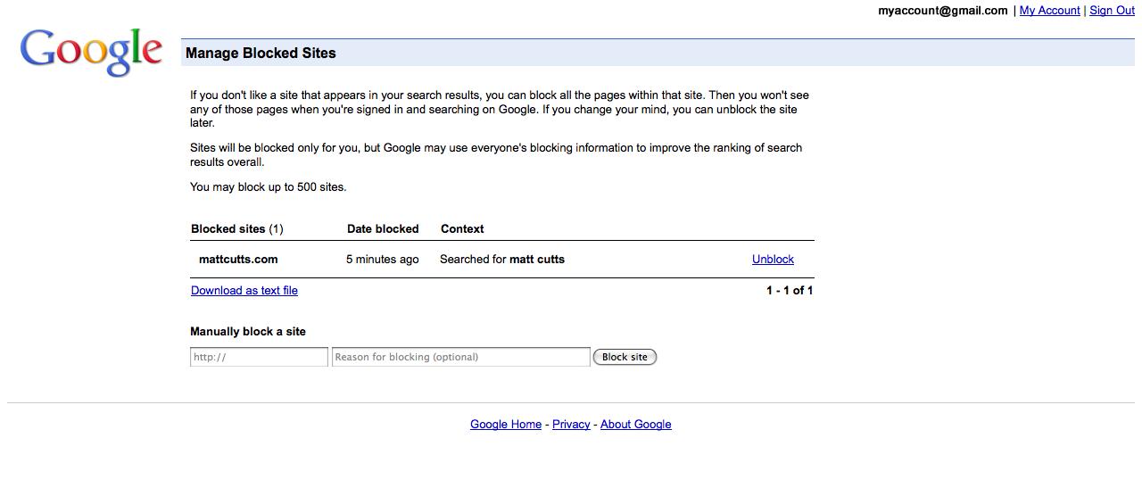 Memanage situs yang anda blok dari pencarian google