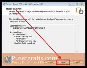 Klik Install untuk menginstall Adept PDF to Word Converter