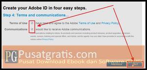 Centang Term of use dan Communications