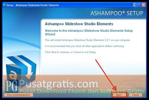 Klik Next untuk menginstall Ashampoo Slideshow Studio Elements