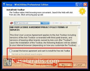 Hilangkan Semua Centang Ask Toolbar untuk menginstall WinUtilities Professional Edition 9.97