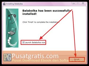 Proses instalasi balabolka text to speech telah selesai. Klik Finish