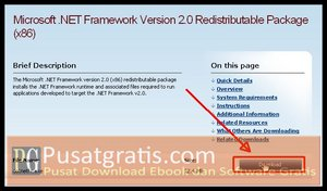 Klik Download untuk mendownload .Net Framework Terbaru