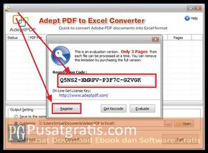 Masukkan kode Lisensi dan klik register untuk mengaktifkan PDF to Excel Converter