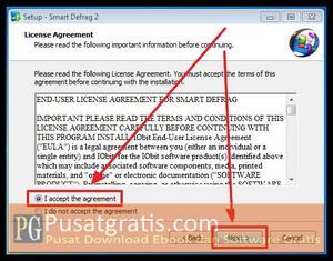 Pilih I Accept dan klik Next beberapa kali untuk menginstall Smart Defrag 2