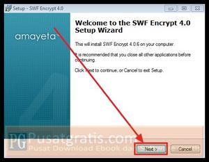 Klik Next untuk menginstall SWF Encrypt