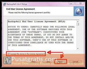 Pilih I accept dan klik Next untuk Menginstall Backup4all Lite