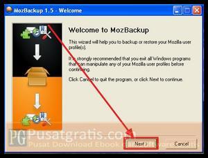 Buka MozBackup kemudian klik next