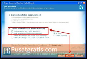 Pilih Custom dan klik Next untuk menginstall Ashampoo Slideshow Studio Elements