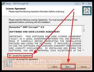 Pilih I Accept dan Klik Next untuk menginstall SWF Encrypt