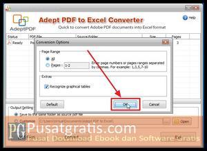 Drag and Drop kemudian Klik OK untuk mengconvert file PDF ke Excel