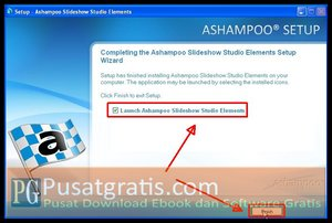 Klik &quot;Finish&quot; untuk menginstall Ashampoo Slideshow Studio Elements