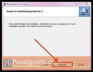 Klik Install untuk Menginstall Backup4all Lite