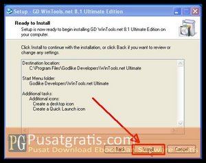 Klik Install untuk menginstall wintools.net ultimate edition full version