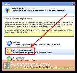 "Klik ""Enter Registration Key"" untuk menginstall WinUtilities Professional Edition 9.97"