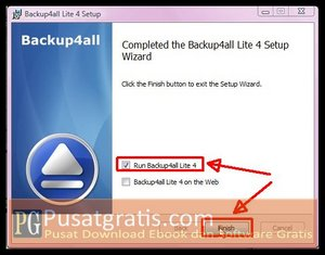 Klik Finish untuk Menginstall Backup4all Lite