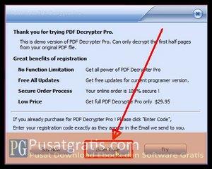 Masukkan lisensi PDF Decrypter Pro