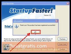 Klik OK, Proses Aktivasi Startup Faster telah berhasil