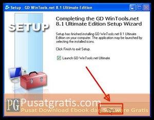 Klik Finish untuk menginstall wintools.net ultimate edition full version